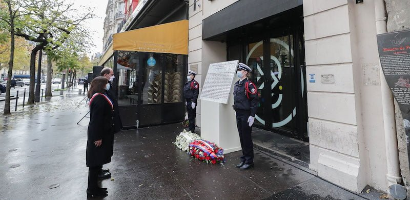 Prime minister Jean Castex paying tribute outside the Bataclan concert hall