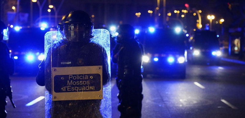 Catalan police on the streets of Barcelona