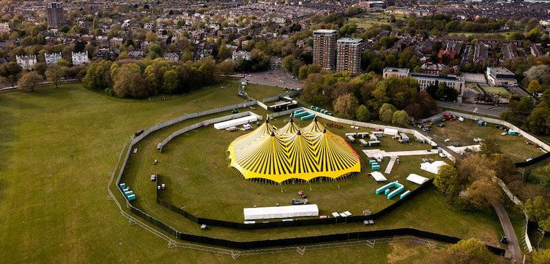 The Sefton Park Pilot festival site ahead of the event