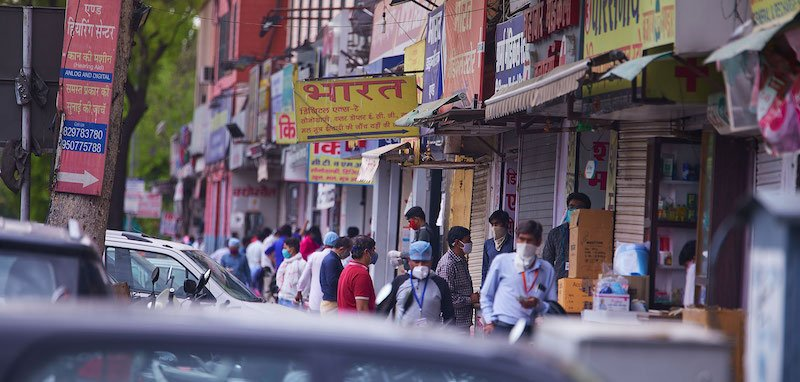 Queue outside a pharmacy in Jaipur, India