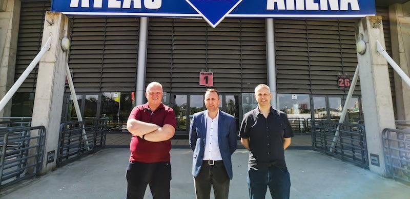 L–R: Makis technical director Roman Lewandowski, Slawomir Worach and Lukasz Minta at Atlas Arena