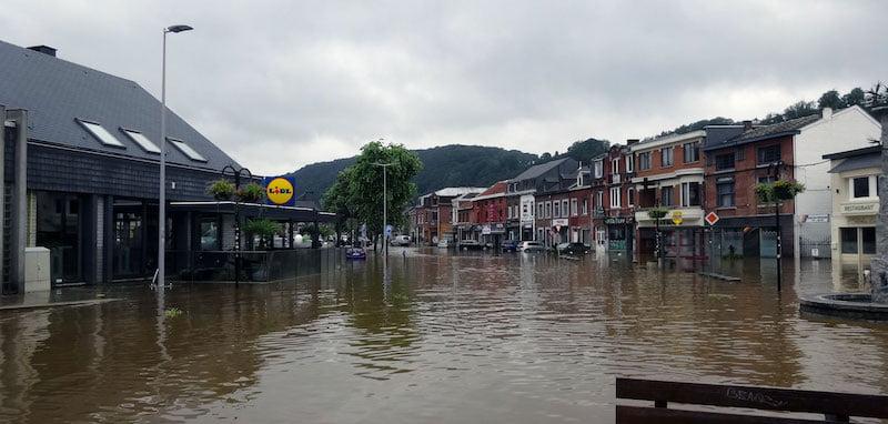 A street in Tilff, Liège, Belgium, under flood water
