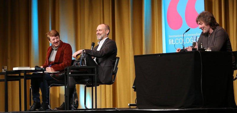 Authors Margarete von Schwarzkopf and Simon Beckett and singer Gerd Köster speak at Lit.Cologne 2019