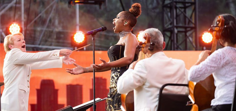 Jennifer Hudson performs with the New York Philharmonic Orchestra at We Love NYC