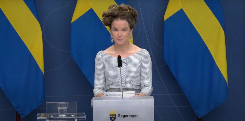 Culture minister Amanda Lind at today's press conference